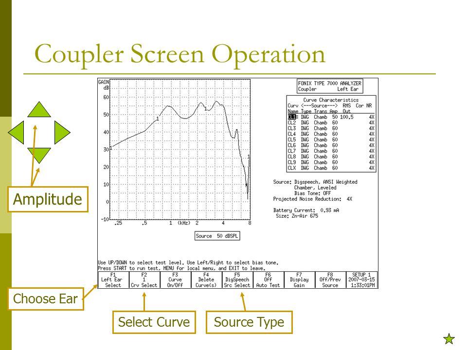 Coupler Screen Operation Choose Ear Select CurveSource Type Amplitude