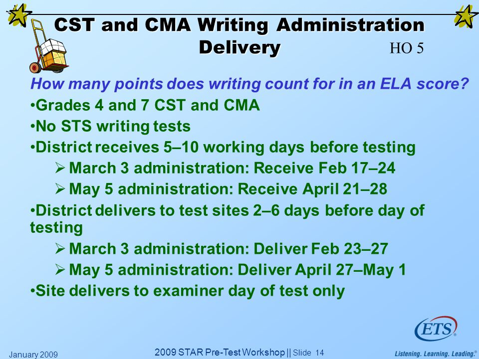 2009 STAR Pre-Test Workshop || Slide 14 January 2009 CST and CMA Writing Administration Delivery How many points does writing count for in an ELA score.