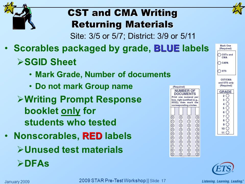 2009 STAR Pre-Test Workshop || Slide 17 January 2009 CST and CMA Writing Returning Materials BLUEScorables packaged by grade, BLUE labels  SGID Sheet Mark Grade, Number of documents Do not mark Group name  Writing Prompt Response booklet only for students who tested REDNonscorables, RED labels  Unused test materials  DFAs Site: 3/5 or 5/7; District: 3/9 or 5/11