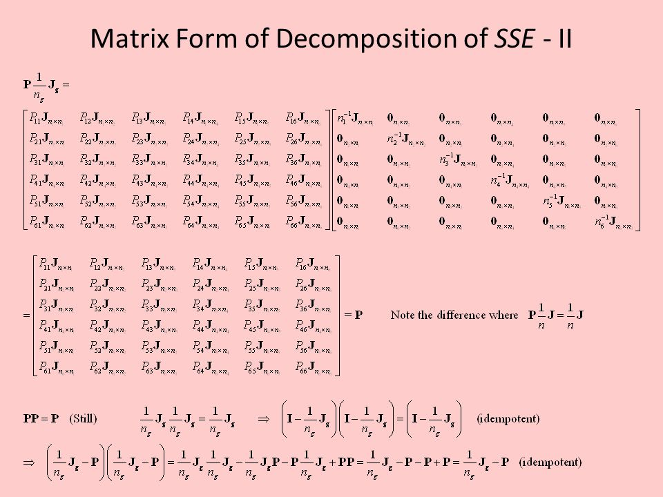 Matrix Form of Decomposition of SSE - II