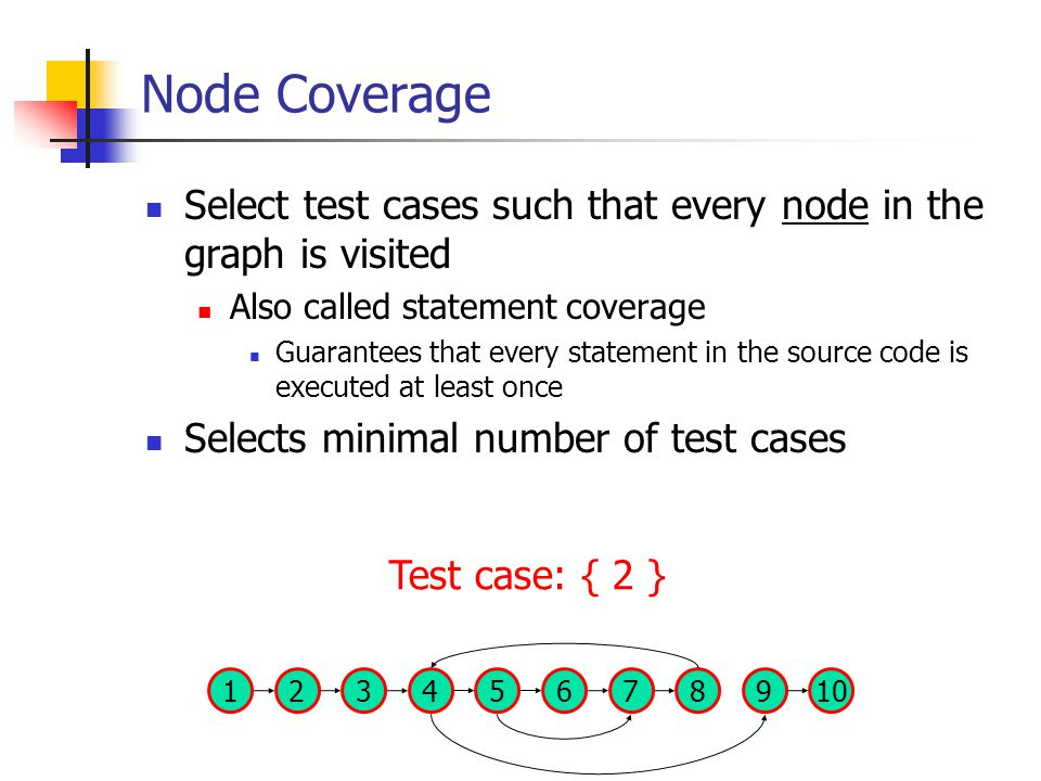Node Coverage Select test cases such that every node in the graph is visited Also called statement coverage Guarantees that every statement in the source code is executed at least once Selects minimal number of test cases 137 824569 10 Test case: { 2 }