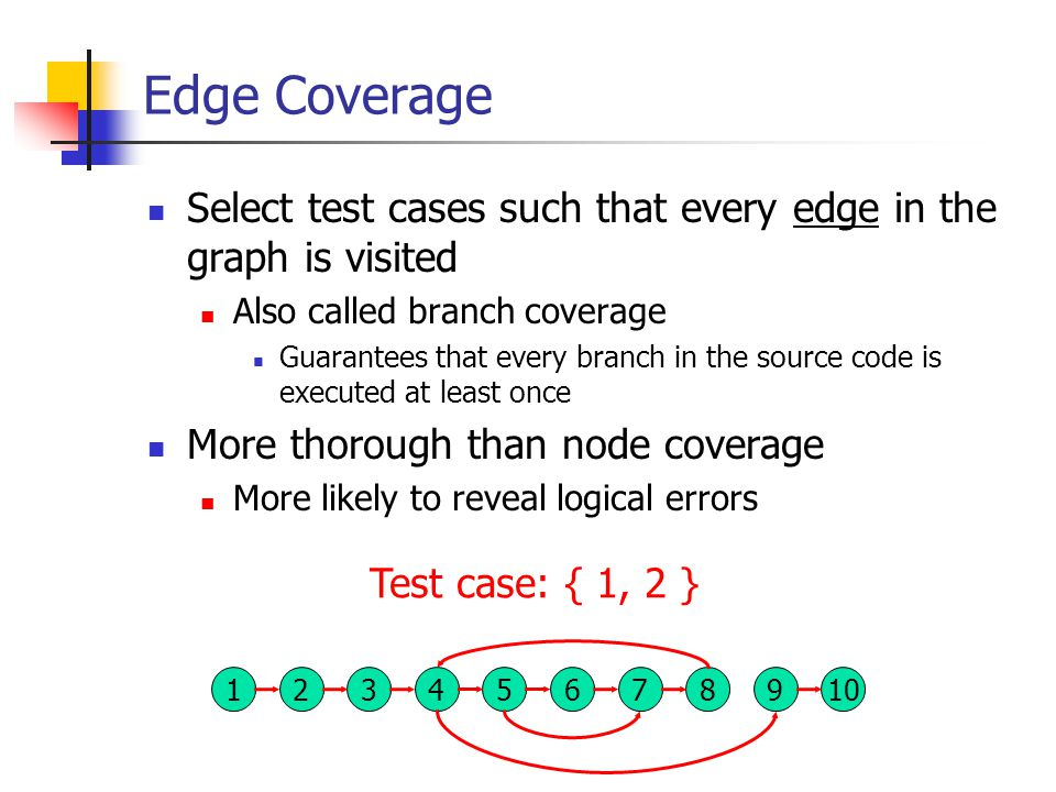 Edge Coverage Select test cases such that every edge in the graph is visited Also called branch coverage Guarantees that every branch in the source code is executed at least once More thorough than node coverage More likely to reveal logical errors 137 824569 10 Test case: { 1, 2 }