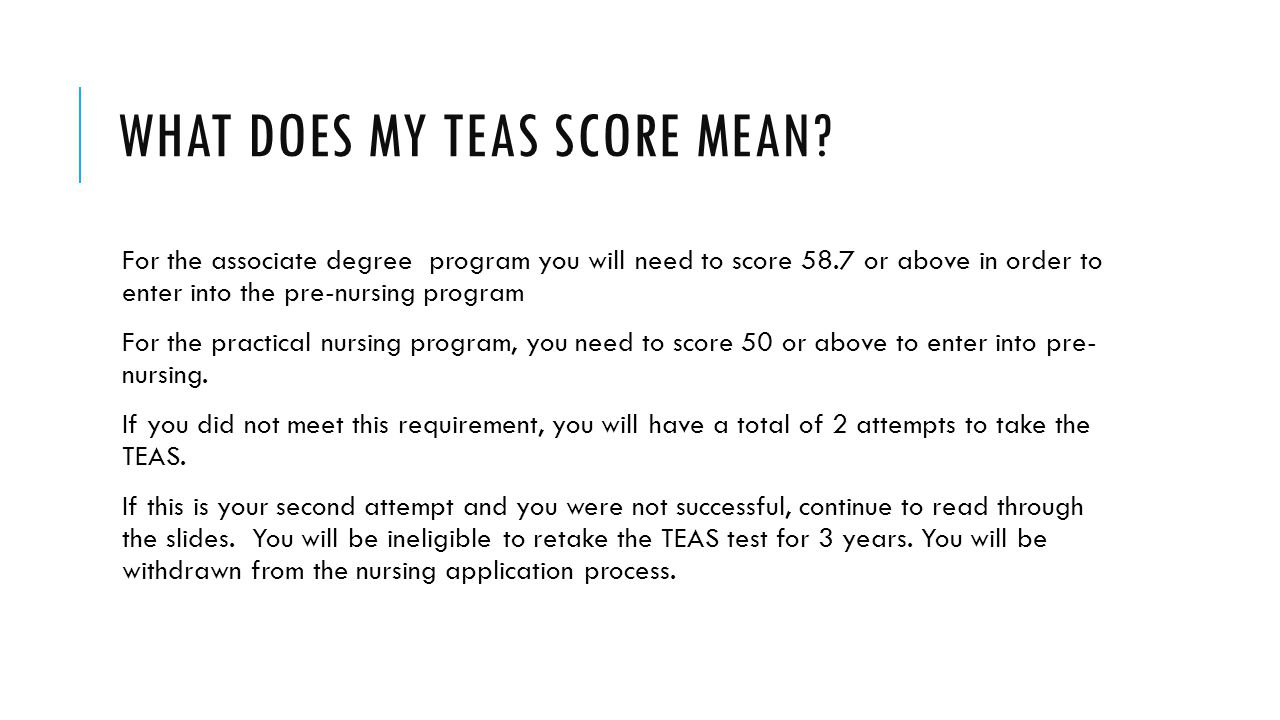 WHAT DOES MY TEAS SCORE MEAN.