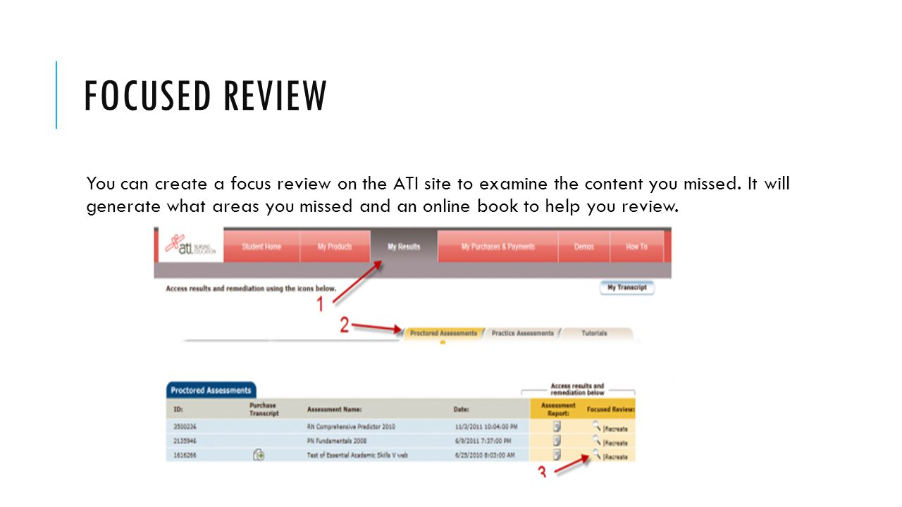 FOCUSED REVIEW You can create a focus review on the ATI site to examine the content you missed.