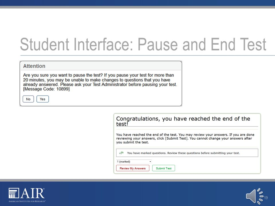 Student Interface: Test Interface 18