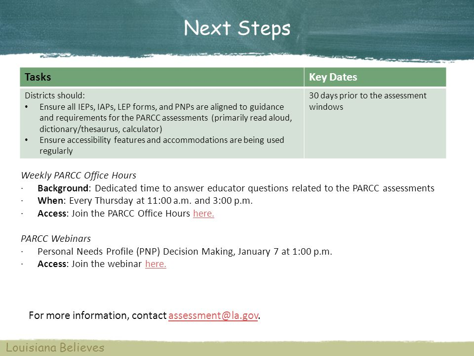 For more information, contact assessment@la.gov.assessment@la.gov Louisiana Believes TasksKey Dates Districts should: Ensure all IEPs, IAPs, LEP forms