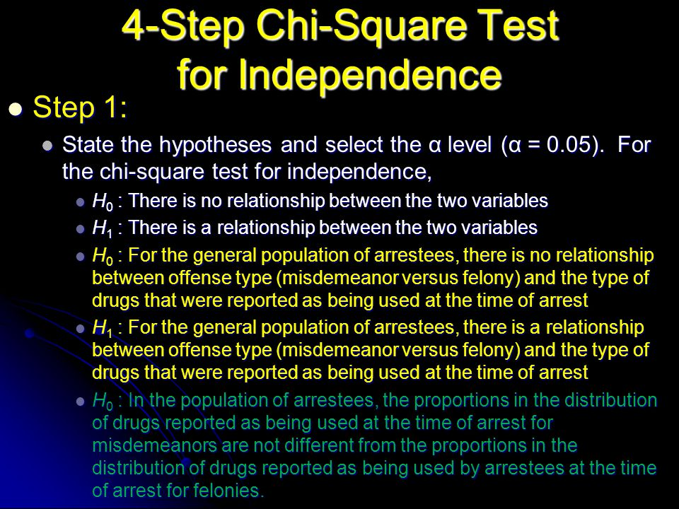 4-Step Chi-Square Test for Independence Step 1: Step 1: State the hypotheses and select the α level (α = 0.05).