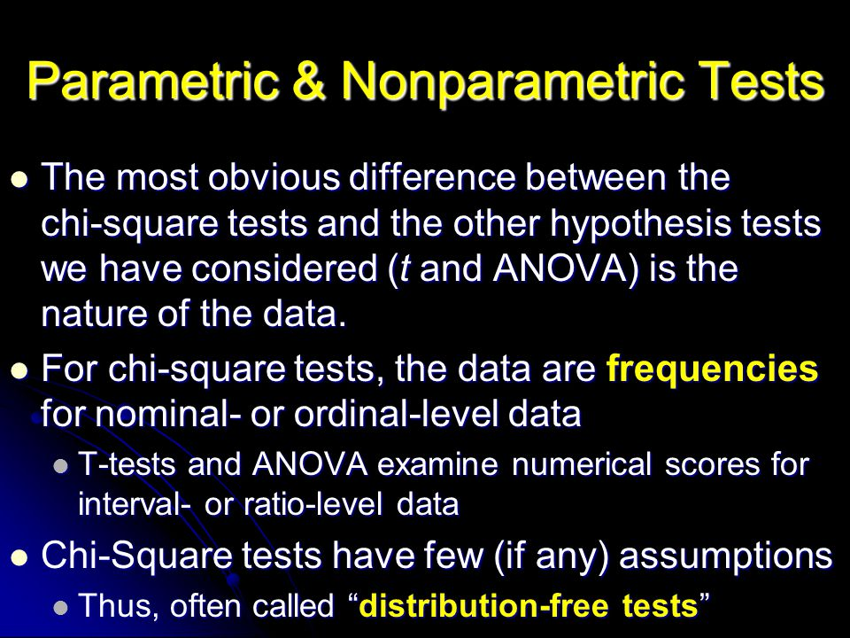 The most obvious difference between the chi ‑ square tests and the other hypothesis tests we have considered (t and ANOVA) is the nature of the data.