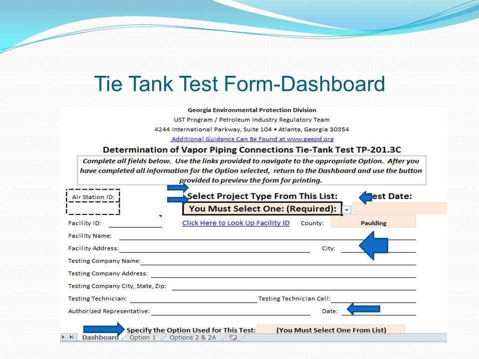 Tie Tank Test Form-Dashboard