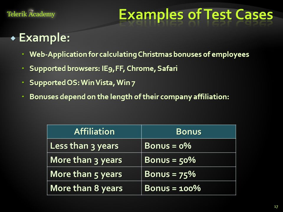  Example:  Web-Application for calculating Christmas bonuses of employees  Supported browsers: IE9,FF, Chrome, Safari  Supported OS: Win Vista, Wi