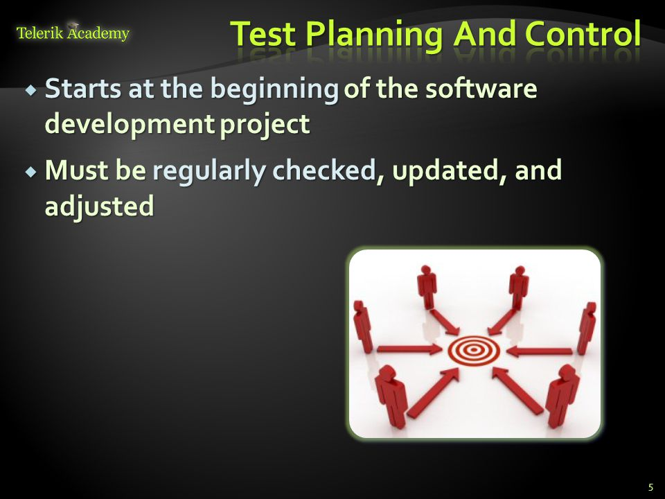  Starts at the beginning of the software development project  Must be regularly checked, updated, and adjusted 5