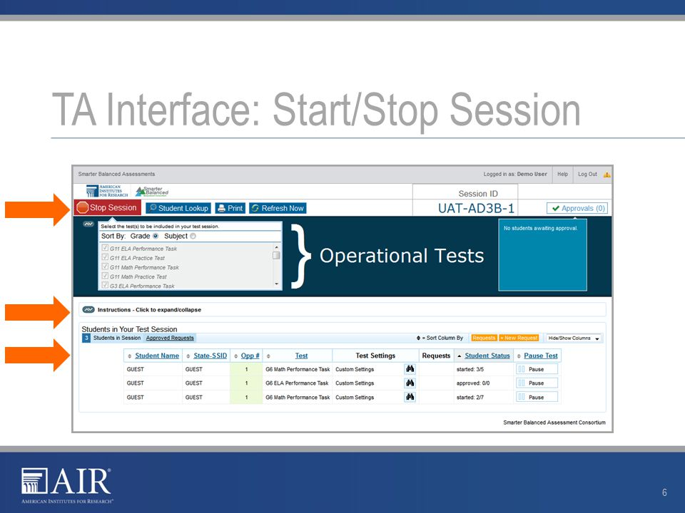 TA Interface: Start/Stop Session 6