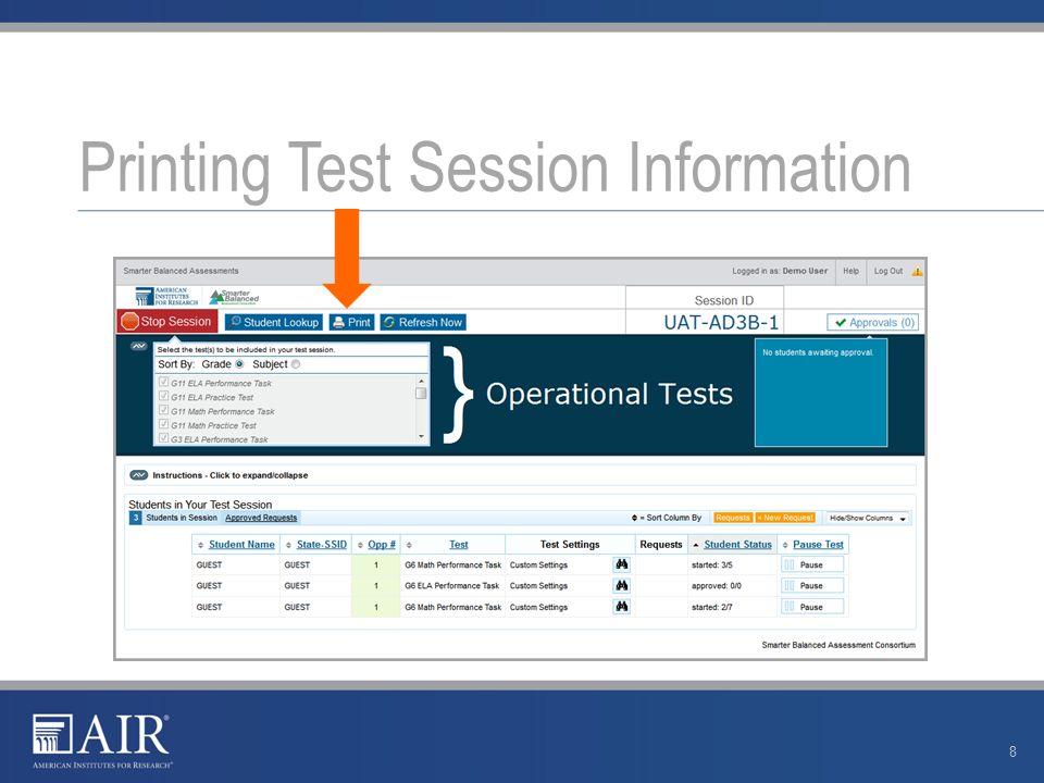 Create a Test Session 9