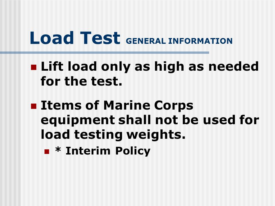 Load Test GENERAL INFORMATION Safety Chains on rear outriggers.