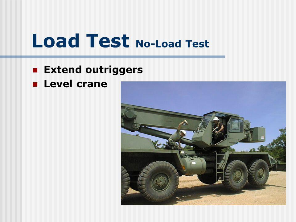 Load Test No-Load Test Hoist Raise/lower hook through full working range Run hook block into ATB Run hook block past ATB using bypass switch