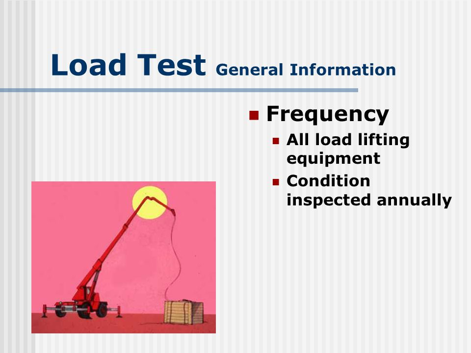 Load Test General Information Waivers Requirements of MCO P11262.2 waived for following reasons 11262.2
