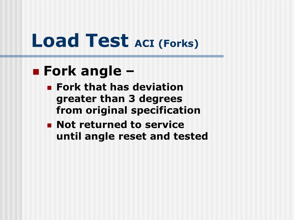 Load Test ACI (Forks) Fork Angle