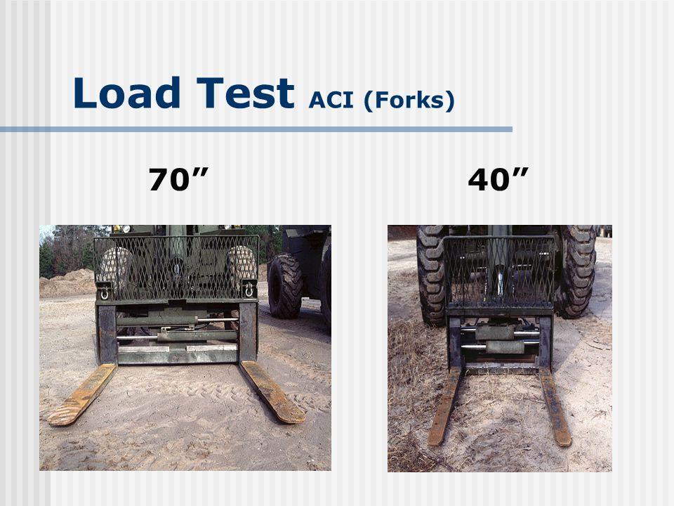 Load Test ACI (Forks) Fork blade/shank wear Thickness reduced 10% of original thickness Fork not returned to service