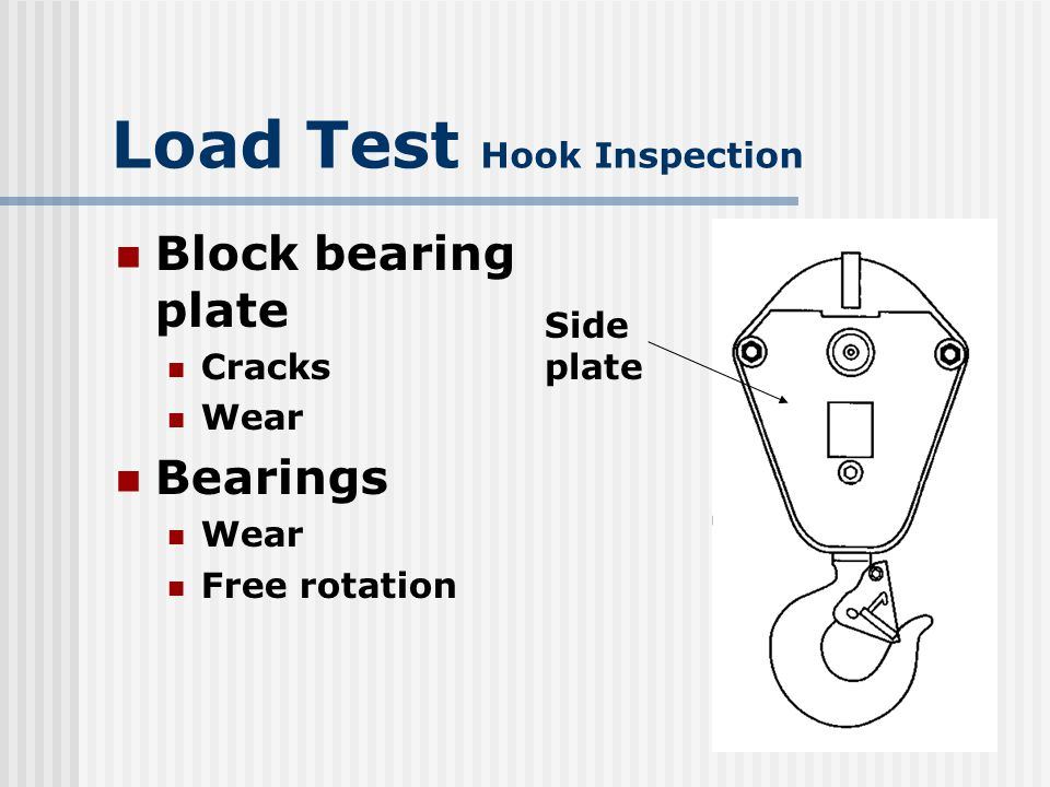 Load Test Hook Inspection Hook and retaining nut assembly Nondestructively tested for structural defects Hook NDT valid for 5 certification periods