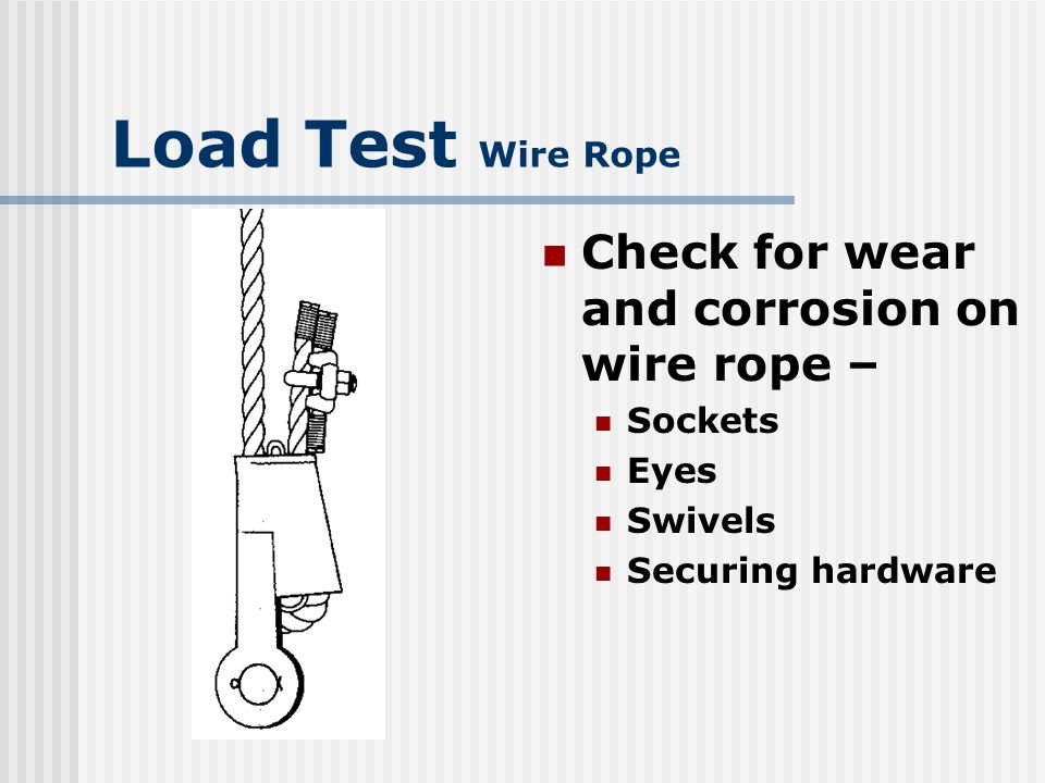 Load Test Wire Rope Drum end fittings Disconnect/disassemble Visible damage or deterioration