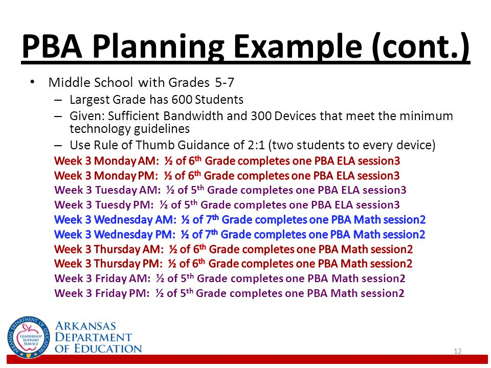 PBA Planning Example (cont.) 12