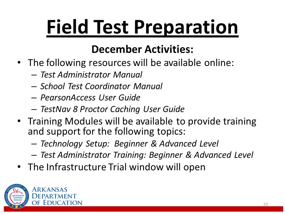 Field Test Preparation January Activities: Training Modules will be available to provide training and support for the following topics: – Accommodations with Computer-Based Testing – Emerging Technologies and Security with Computer-Based Testing 21