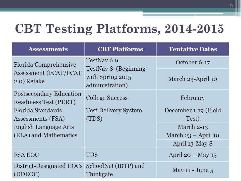 FSA/FCAT/FCAT 2.0/EOC CBT Practice Tests TDS (AIR) TestNav 8 (Pearson) NameTraining TestsePAT PlatformSecure BrowserWeb-browser, no download Required.