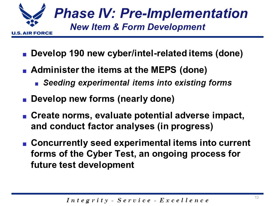 I n t e g r i t y - S e r v i c e - E x c e l l e n c e Phase IV: Pre-Implementation New Item & Form Development ■ Develop 190 new cyber/intel-related