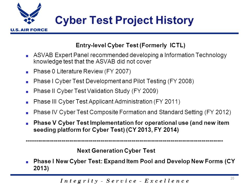 I n t e g r i t y - S e r v i c e - E x c e l l e n c e Cyber Test Project History Entry-level Cyber Test (Formerly ICTL) ■ ASVAB Expert Panel recomme
