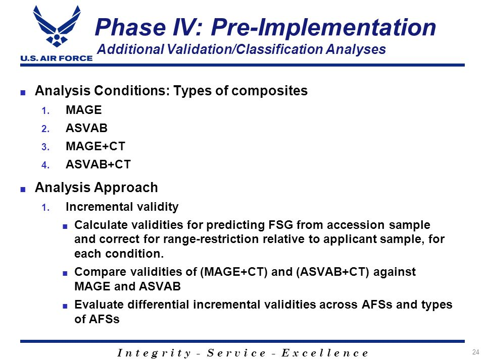 I n t e g r i t y - S e r v i c e - E x c e l l e n c e ■ Analysis Conditions: Types of composites 1. MAGE 2. ASVAB 3. MAGE+CT 4. ASVAB+CT ■ Analysis