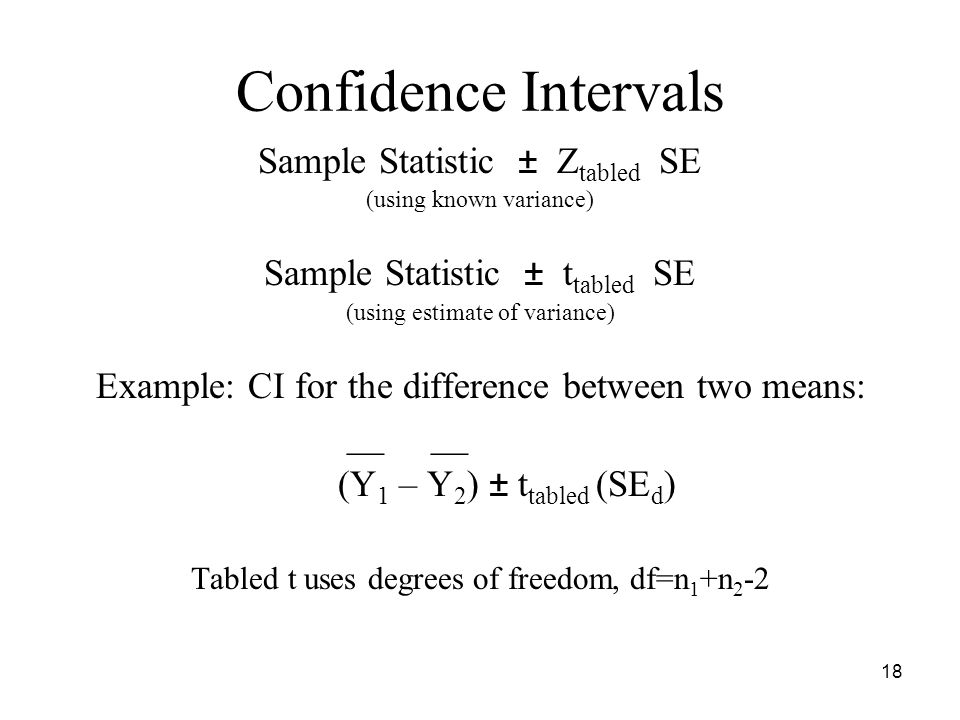 Confidence Intervals Sample Statistic ± Z tabled SE (using known variance) Sample Statistic ± t tabled SE (using estimate of variance) Example: CI for the difference between two means: __ __ (Y 1 – Y 2 ) ± t tabled (SE d ) Tabled t uses degrees of freedom, df=n 1 +n 2 -2 18
