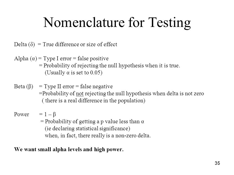Nomenclature for Testing Delta (δ) = True difference or size of effect Alpha (α) = Type I error = false positive = Probability of rejecting the null hypothesis when it is true.