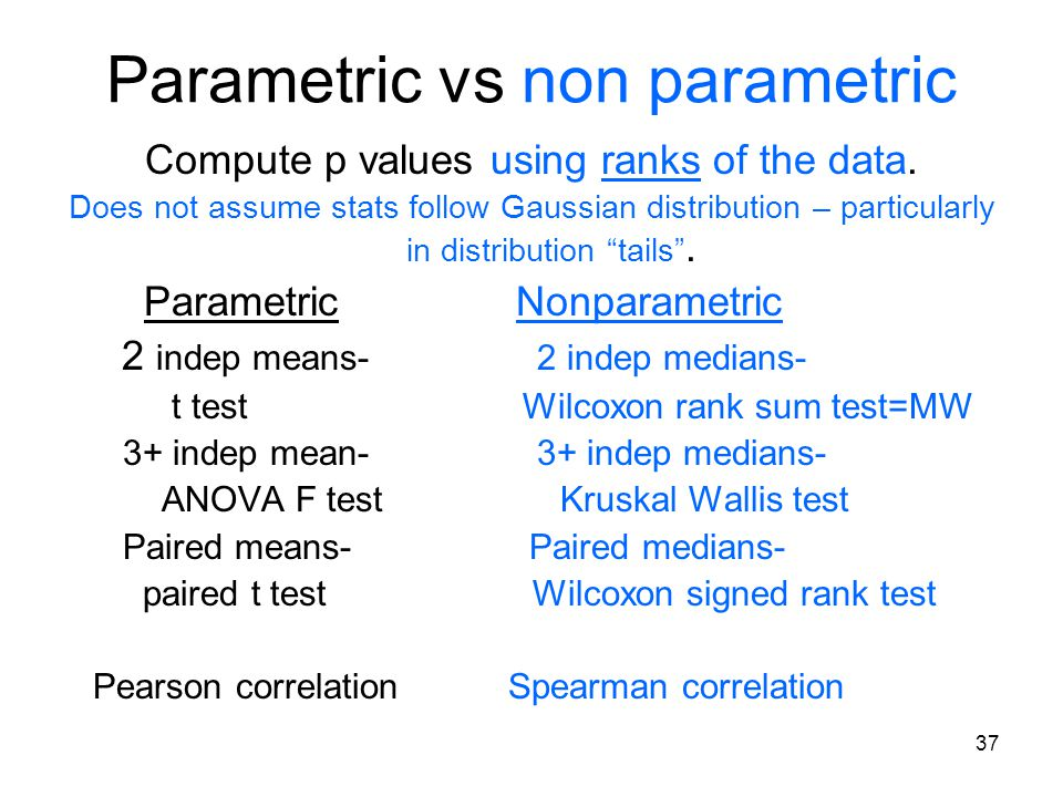 Parametric vs non parametric Compute p values using ranks of the data.