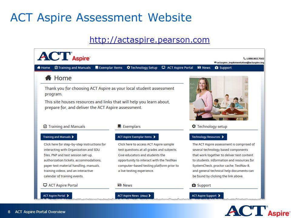 South Carolina ACT Aspire Website ACT Aspire Portal Overview9 http://www.act.org/aap/southcarolina/aspire.html