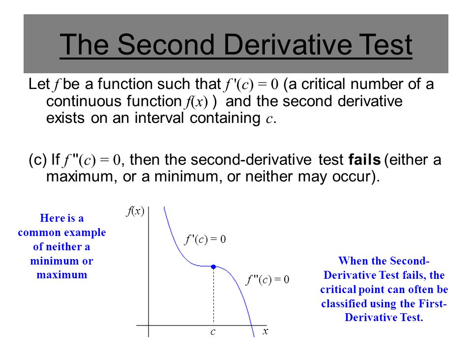 The Second Derivative Test Let f be a function such that f '(c) = 0 (a critical number of a continuous function f(x) ) and the second derivative exist