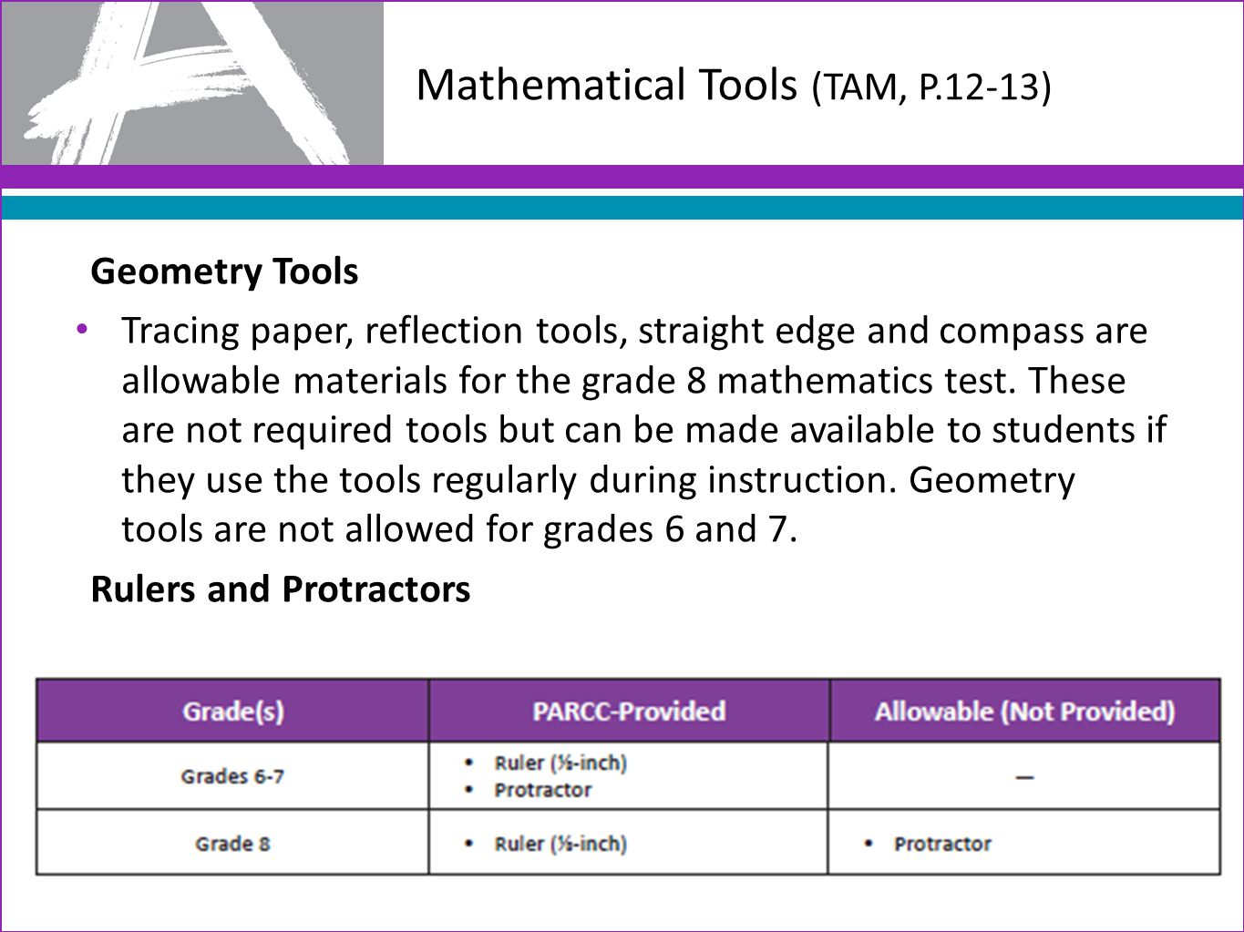 Mathematical Tools (TAM, P.12-13) Geometry Tools Tracing paper, reflection tools, straight edge and compass are allowable materials for the grade 8 mathematics test.