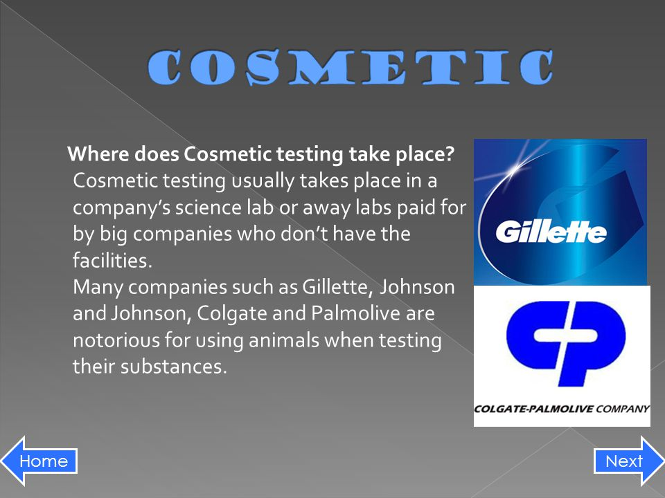 Where does Cosmetic testing take place.