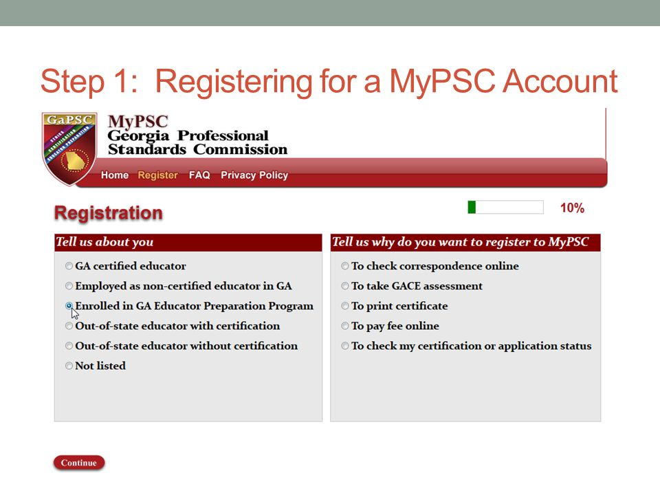 Step 1: Registering for a MyPSC Account