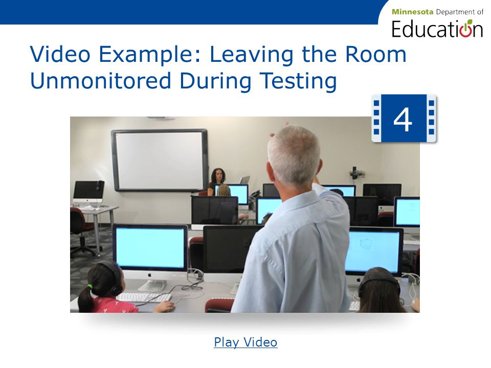 Video Example: Leaving the Room Unmonitored During Testing Play Video 4