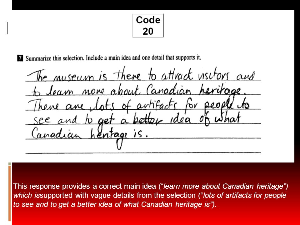 """This response provides a correct main idea (""""learn more about Canadian heritage"""") which issupported with vague details from the selection (""""lots of ar"""