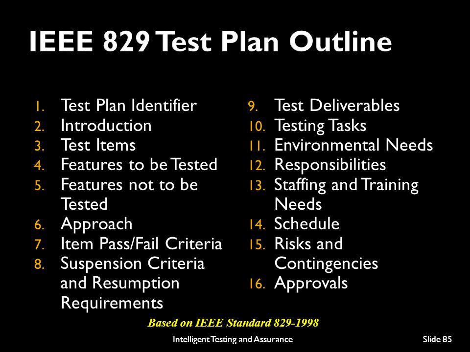 1.Test Plan Identifier 2. Introduction 3. Test Items 4.