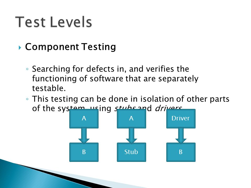  Component Testing ◦ Searching for defects in, and verifies the functioning of software that are separately testable. ◦ This testing can be done in i