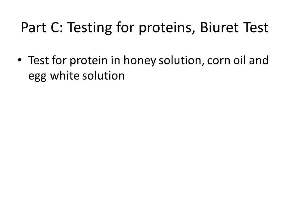 Part C: Testing for proteins, Biuret Test Test for protein in honey solution, corn oil and egg white solution