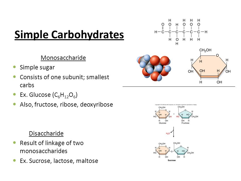 Simple Carbohydrates Monosaccharide Simple sugar Consists of one subunit; smallest carbs Ex.