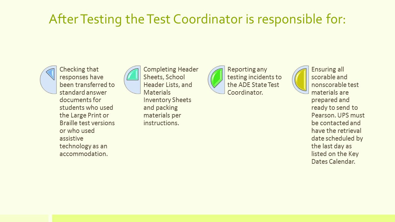 After Testing the Test Coordinator is responsible for: Checking that responses have been transferred to standard answer documents for students who used the Large Print or Braille test versions or who used assistive technology as an accommodation.