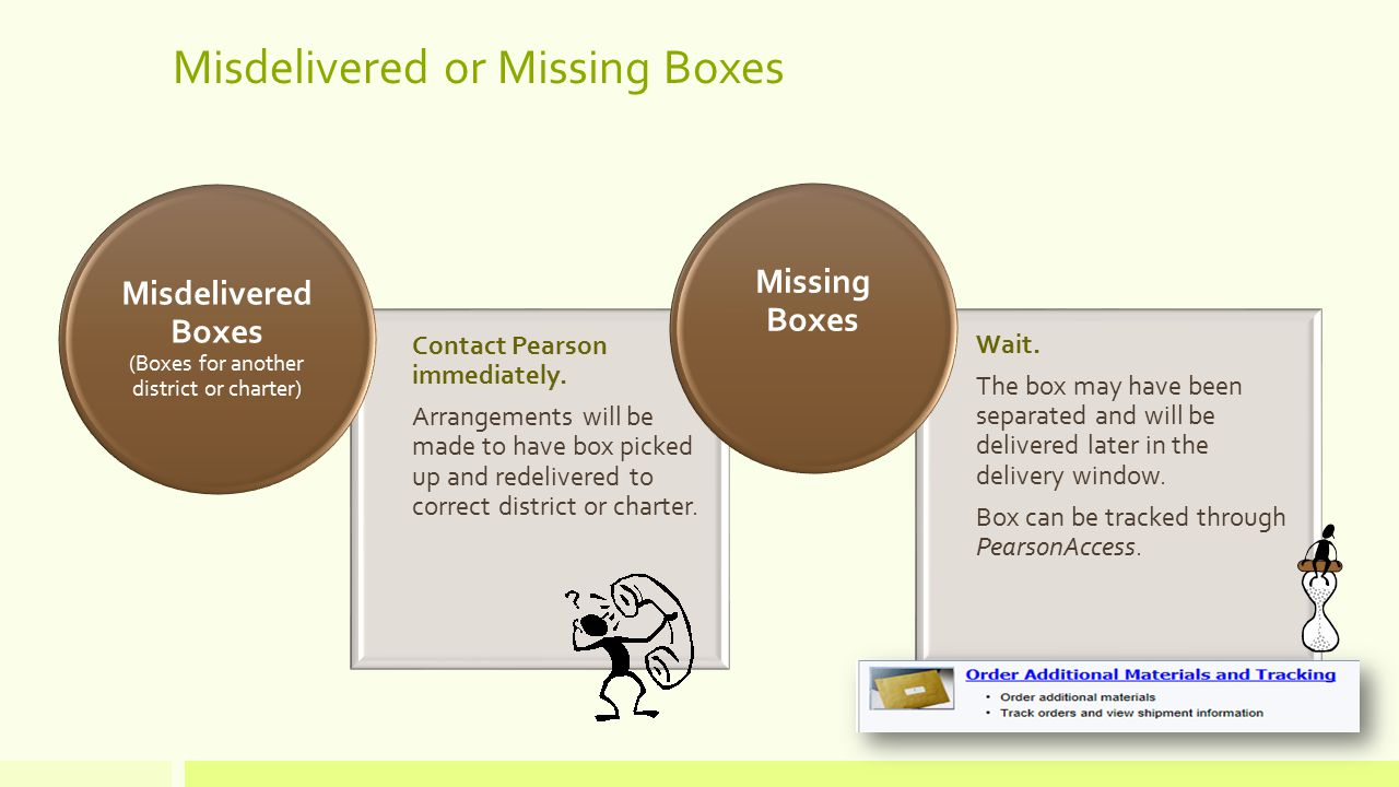 Misdelivered or Missing Boxes Contact Pearson immediately.