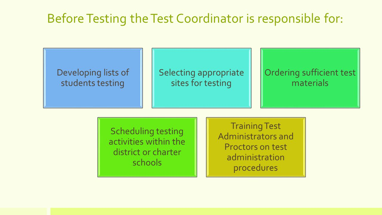 Before Testing the Test Coordinator is responsible for: Developing lists of students testing Selecting appropriate sites for testing Ordering sufficient test materials Scheduling testing activities within the district or charter schools Training Test Administrators and Proctors on test administration procedures