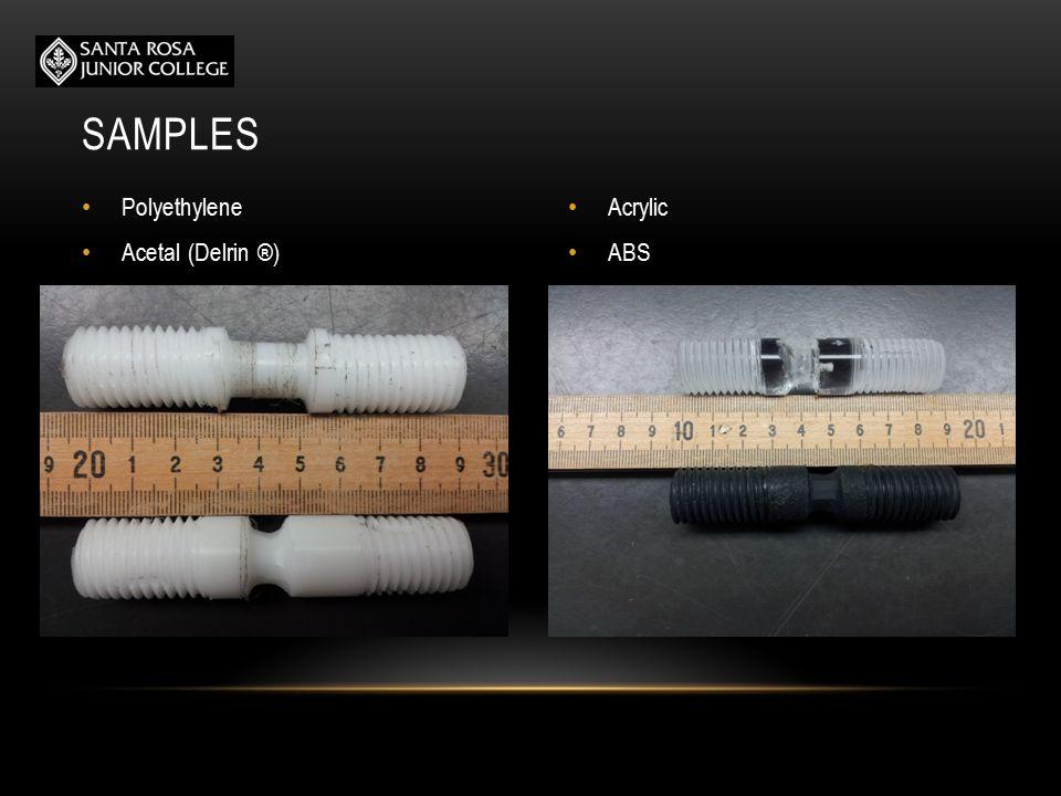 STRENGTH OF PLASTICS SampleTensile Strength (psi) ABS3855.40 Acrylic16070.38 Delrin13409.79 Polyethylene3909.75
