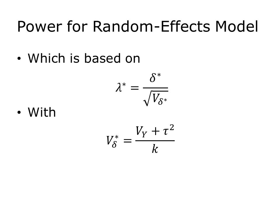 Power for Random-Effects Model Which is based on With