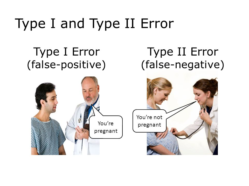 Type I and Type II Error Type I Error (false-positive) Type II Error (false-negative) You're not pregnant You're pregnant